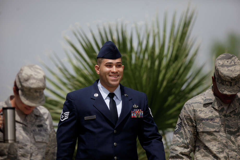 Staff Sgt. Peter Vega-Maldonado leaves his trial  at Lackland Air Force Base for a lunch break in San Antonio on Friday, April 6, 2012. Photo: Lisa Krantz, SAN ANTONIO EXPRESS-NEWS / SAN ANTONIO EXPRESS-NEWS