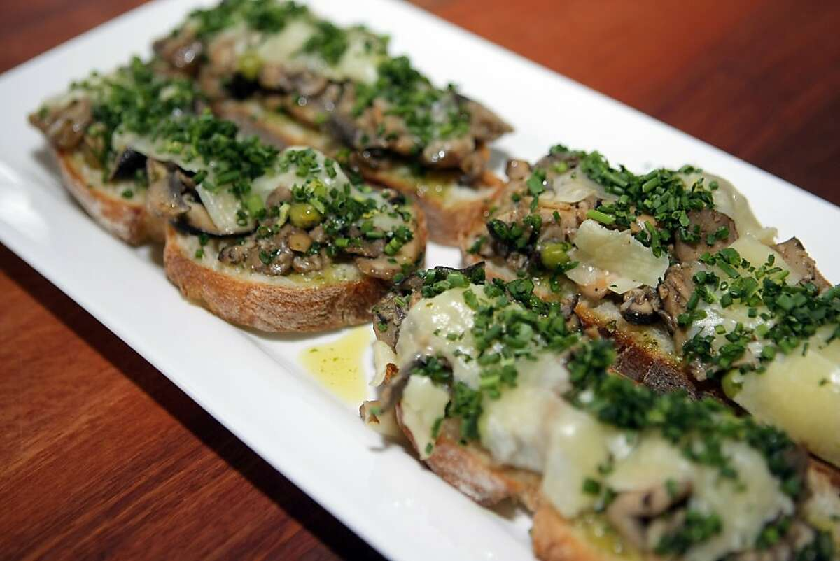 The shiitake mushroom crostini with berbere and machego cheese served at Radio Africa Kitchen restaurant in San Francisco.