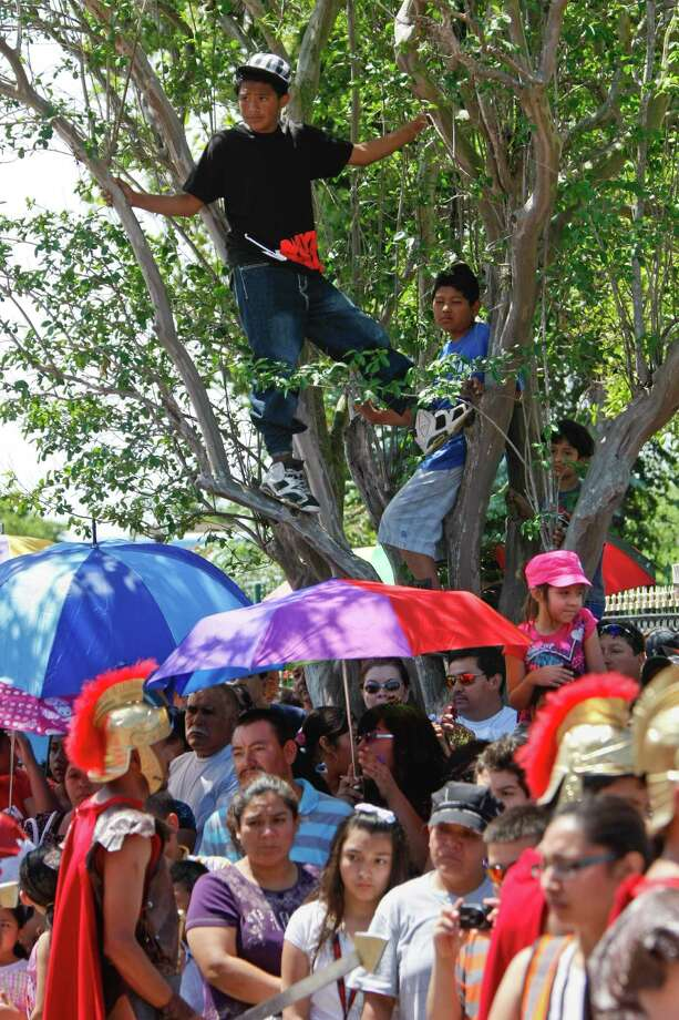 Boys climb a tree to get a better look at a live reenactment of the stations of the cross, Friday, April 6, 2012, at Queen of Peace Church in Houston. Photo: Nick De La Torre, Houston Chronicle / © 2012  Houston Chronicle