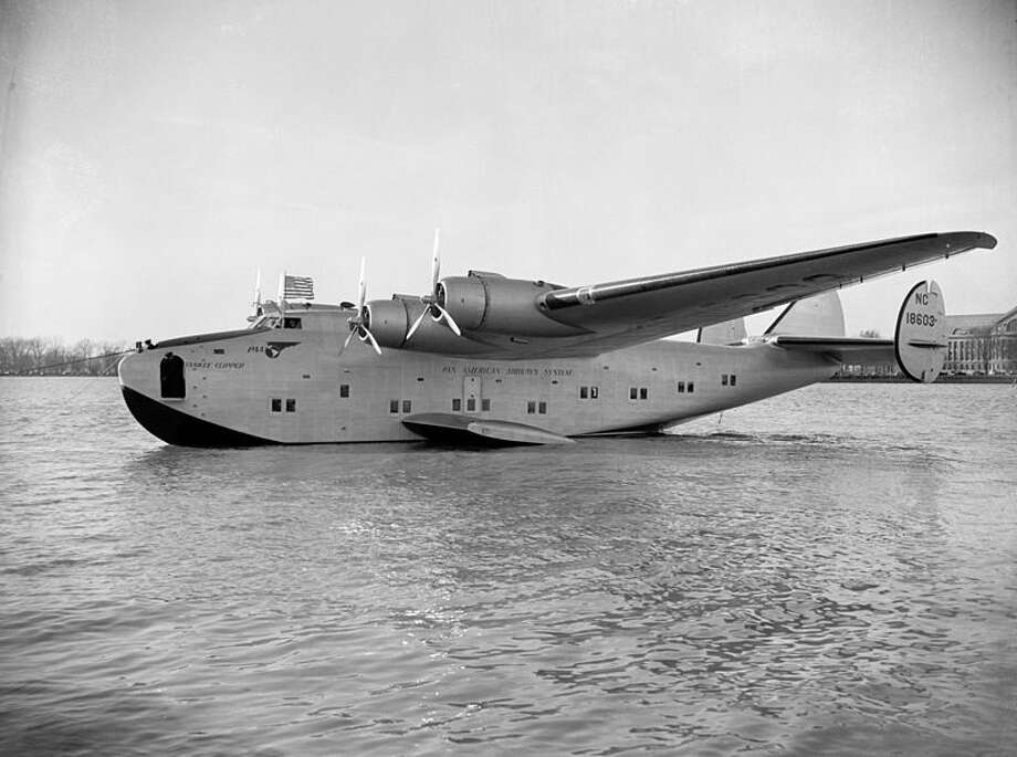 After Pan American Airlines asked for a long-range, four-engine flying boat, Boeing made the Model 314, which became known as the Boeing Clipper and first flew on June 28, 1939. It featured 74 seats that converted into 40 bunks, dressing rooms, a dining salon that could be turned into a lounge and a bridal suite. This is a shot of a Pan Am Clipper, circa 1939. Photo: Library Of Congress