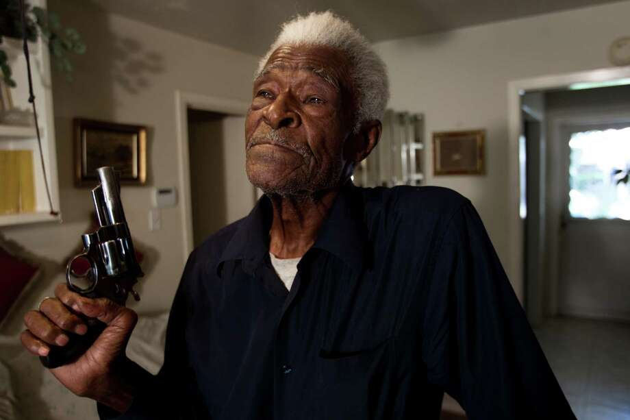 Jack Hands, 92, lost custody of his pistol when he fatally shot a younger man who threatened him. He was cleared in the shooting, but it took police a couple of years to return the revolver. Photo: Brett Coomer / © 2012 Houston Chronicle