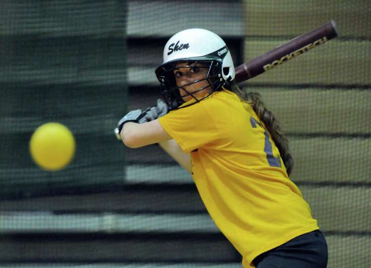Shenendehowa second baseman Melissa Morgan takes batting practice at the school on Wednesday April 4