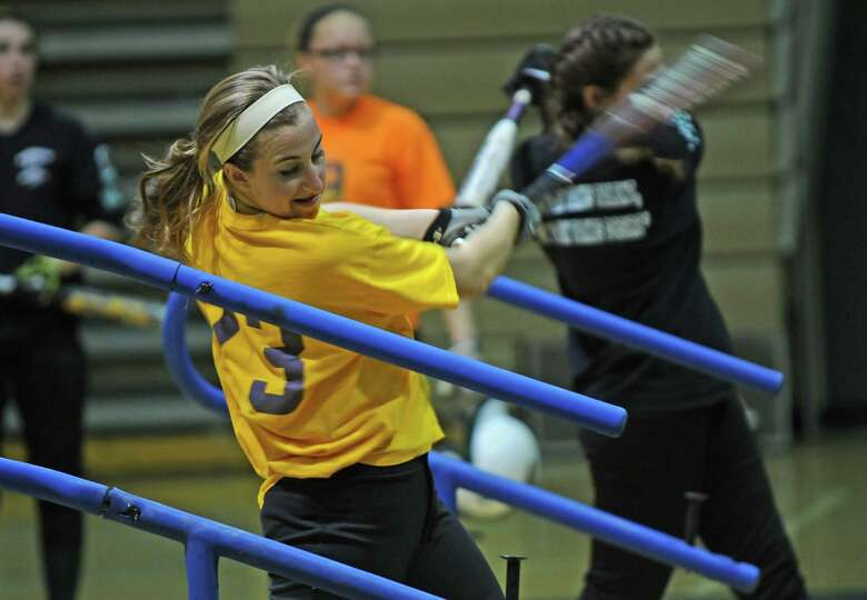 Shenendehowa second baseman Melissa Morgan  practices her swing at the school on Wednesday April 4,