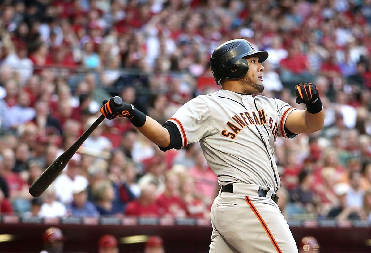 PHOENIX, AZ - APRIL 06: Melky Cabrera #53 of the San Francisco Giants hits a two run home run against the Arizona Diamondbacks during the fifth inning of the Opening Day game at Chase Field on April 6, 2012 in Phoenix, Arizona. (Photo by Christian Petersen/Getty Images)