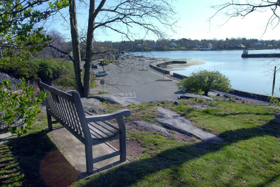 A bench in Byram Park with a view of Byram Harbor, Saturday morning, April 7, 2012. Photo: Bob Luckey / Greenwich Time