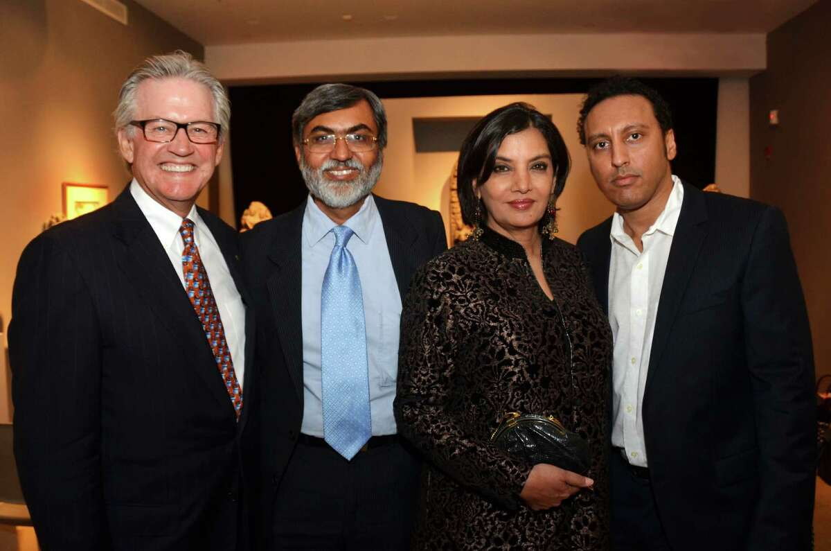 """Left to right: AmeriCares President and CEO Curt Welling and AmeriCares India VP and Managing Director Dr. Purvish Parikh with actress Shabana Azmi and Aasif Mandvi of """"The Daily Show with Jon Stewart."""" Mandvi served as celebrity auctioneer for the """"Celebration of Indian Art & Humanity,"""" benefit for AmeriCares India aid programs at the Aicon Gallery in New York City March 22."""