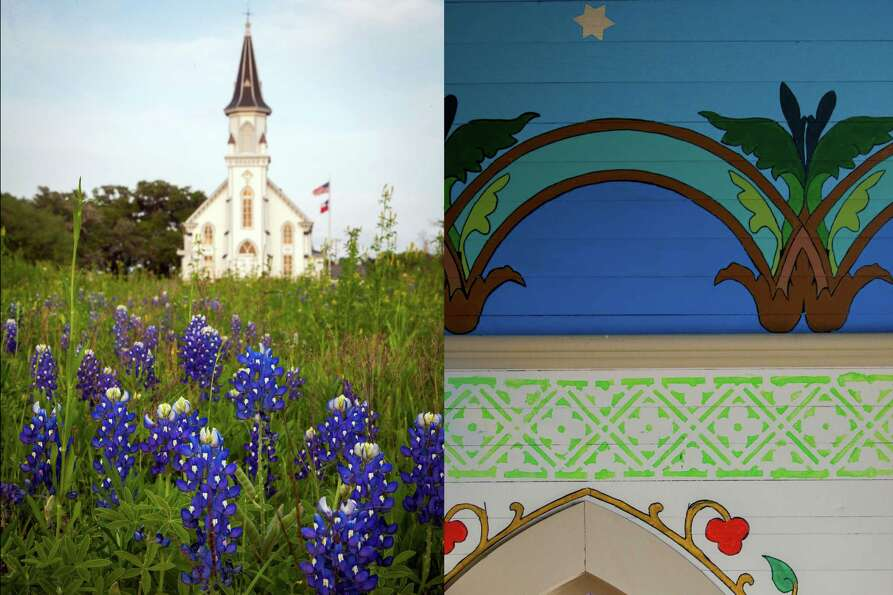 LEFT: Sts. Cyril and Methodius Church rises over a field of bluebonnets in Dubina.  RIGHT: Painted v