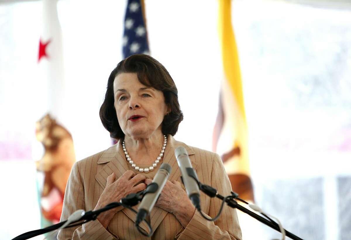 Senator Dianne Feinstein speaks at Muni's 100th birthday celebration in San Francisco, Calif., Thursday, April 5, 2012.