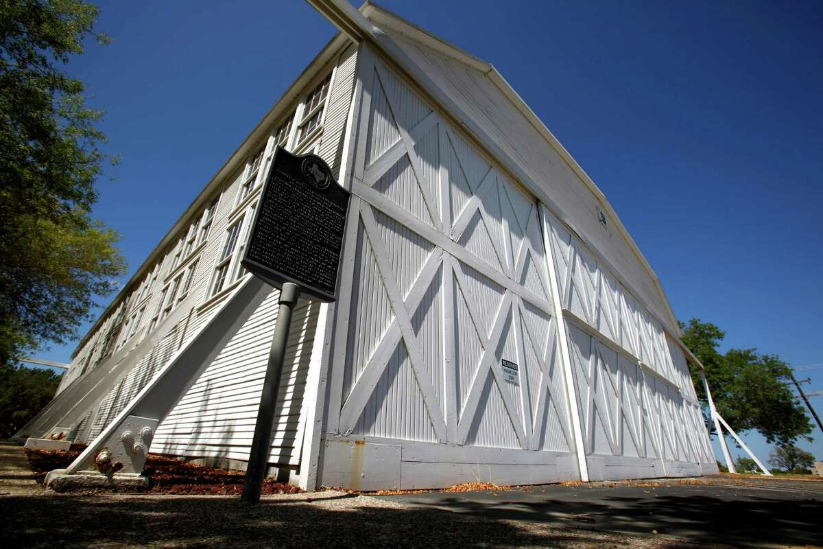 Hangar 9, the last remaining World War I airplane hangar, remains on Brooks City-Base Wednesday Aug. 24, 2011, but specific plans for the property have not been outlined. (William Luther/wluther@express-news.net)