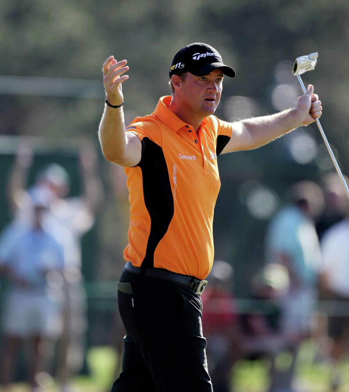 Peter Hanson, of Sweden, after his birdie putt on the 17th hole during the third round of the Masters golf tournament Saturday, April 7, 2012, in Augusta, Ga.