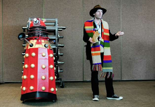 "Joseph ""Whovianart"" Cassidy, right, as Dr. Who, poses with a Dalek. Photo: LINDSEY WASSON / SEATTLEPI.COM"