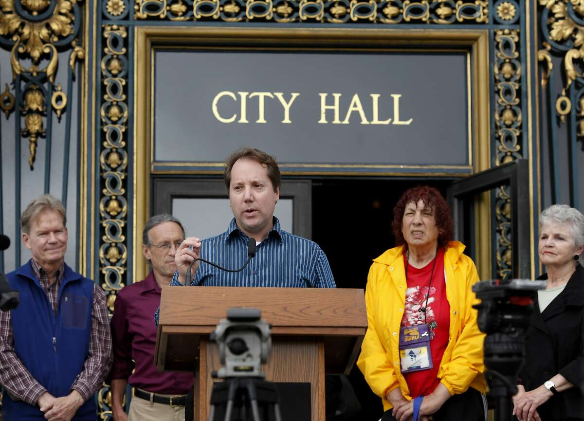 Jon Golinger, center, president of the Telegraph Hill dwellers association, is concerned about the effects on his neighborhood and the bay. A variety of civic and environmental groups in San Francisco, Calif., are concerned about pollution and debris in the bay during the upcoming America's Cup.
