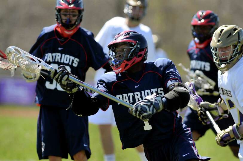 Schenectady's Troy Garr (1) controls the ball during their lacrosse game against CBA on Saturday, Ap
