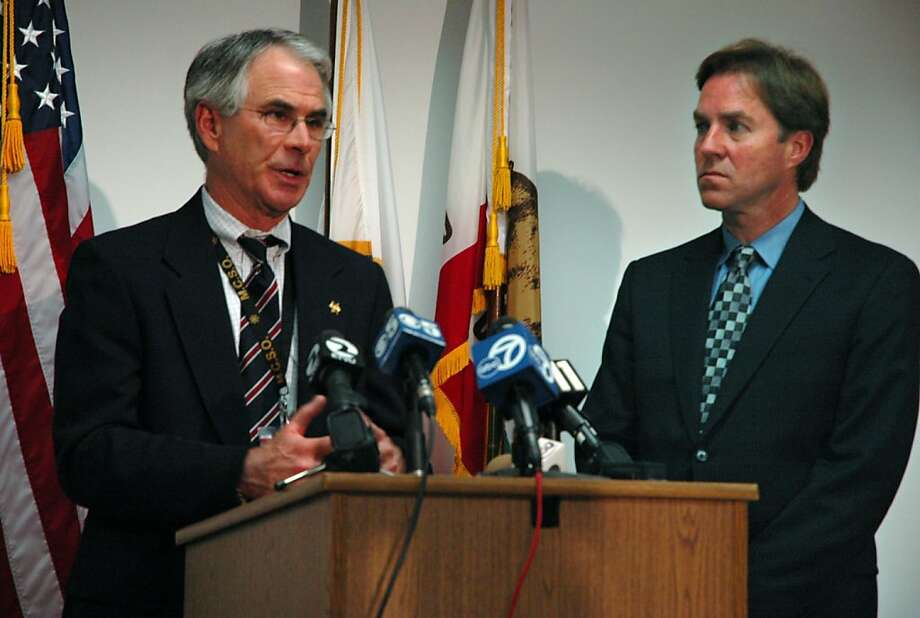 Marin County Sheriff Bob Doyle, left, and state assemblyman Joe Nation discuss the transfer of a dozen paroled sex offenders to San Quentin State Prison during a news conference at the county jail in San Rafael, Calif., Thursday, May 4, 2006. Photo: Darcy Holdorf, AP