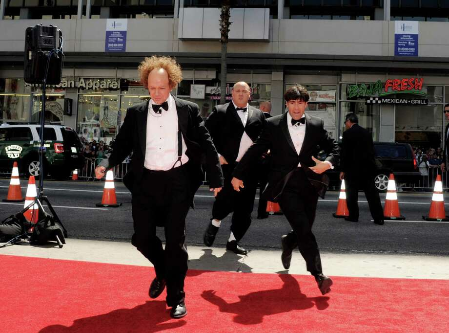 """LOS ANGELES, CA - APRIL 07:  (L-R) Actors Sean Hayes, Will Sasso and Chris Diamontopoulos arrive at the premiere of Twentieth Century Fox's """"The Three Stooges"""" at the Graumans Chinese Theater on April 7, 2012 in Los Angeles, California. Photo: Kevin Winter, Getty Images / 2012 Getty Images"""