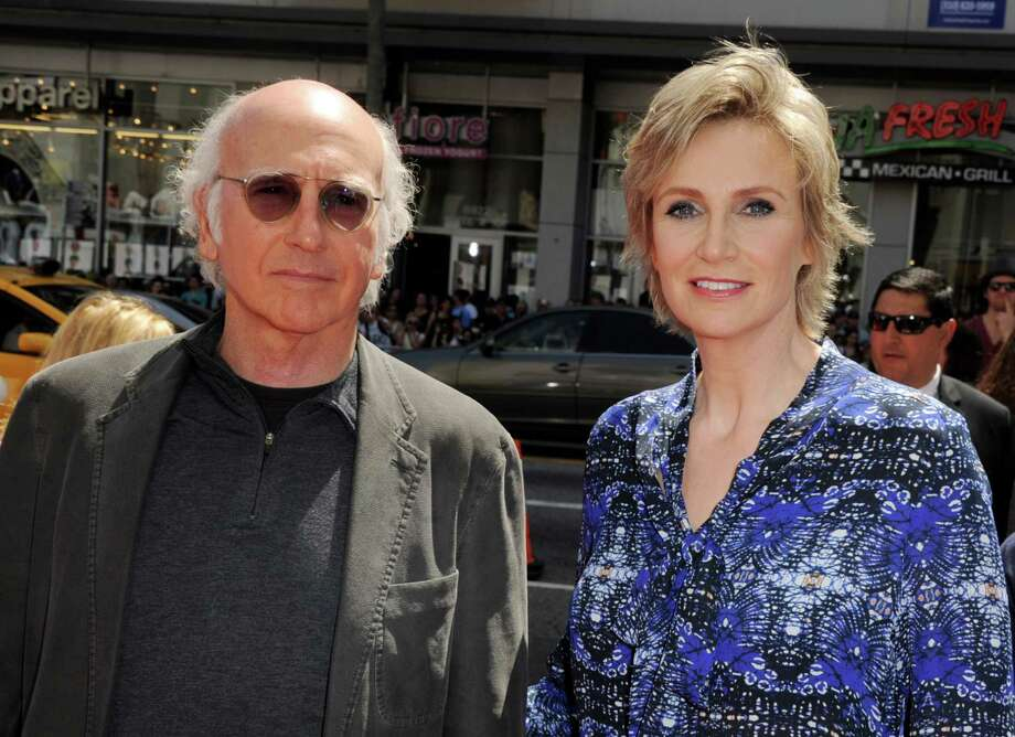 "LOS ANGELES, CA - APRIL 07:  Actors Larry David (L) and Jane Lynch arrive at the premiere of Twentieth Century Fox's ""The Three Stooges"" at the Graumans Chinese Theater on April 7, 2012 in Los Angeles, California. Photo: Kevin Winter, Getty Images / 2012 Getty Images"