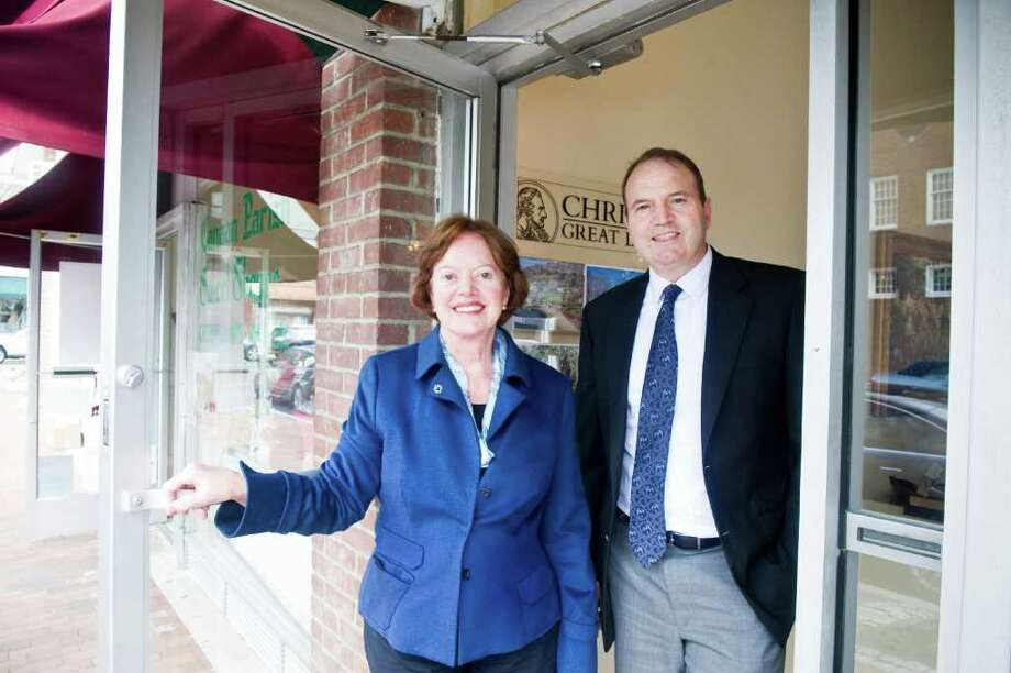 Barbara Cleary and her son Brian Cleary of Barbara Cleary's Realty Guild on South Avenue in New Canaan,, March 29, 2012. Photo: Keelin Daly / Stamford Advocate