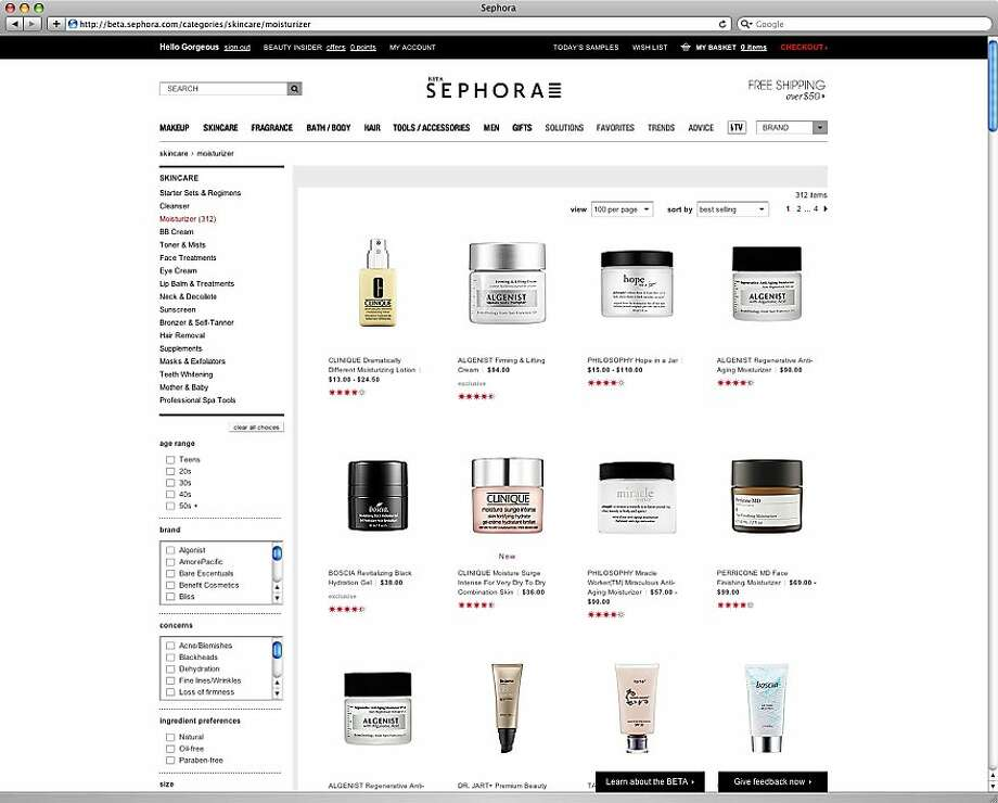 Undated screenshots of the beta version of Sephora's redesigned website aimed towards Pinterest users. Photo: Sephora