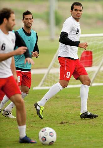 San Antonio Scorpions forward Pablo Campos (9) is seen during practice, Friday, March 30, 2012, at STAR Soccer Complex in San Antonio. Photo: Darren Abate, Darren Abate/Special To The Express-News