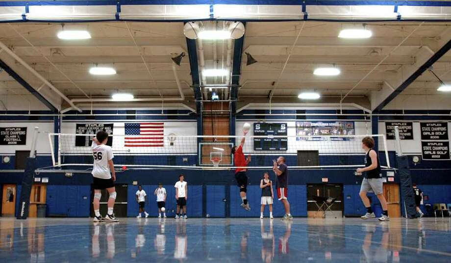 Boys volleyball practice at Staples in Westport, Conn. on Wednesday March 28, 2012. Photo: Christian Abraham / Connecticut Post