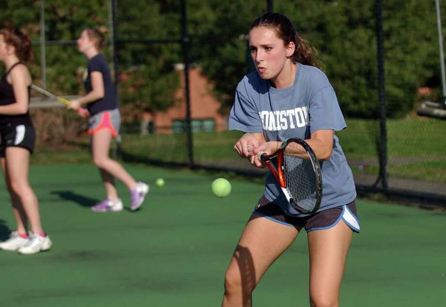Staples' Leigh Rubin during girls tennis practice in Westport, Conn. on Wednesday March 28, 2012. Photo: Christian Abraham / Connecticut Post