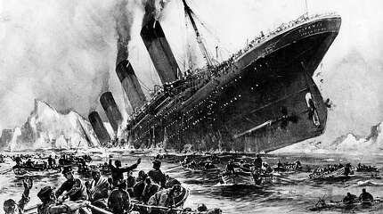 This artist renderig is how the German artist Willy Stoewer visualized the nightmare of the sinking of the Titanic, as survivors struggled to get away from the stricken liner. (St. Louis Post-Dispatch/MCT)
