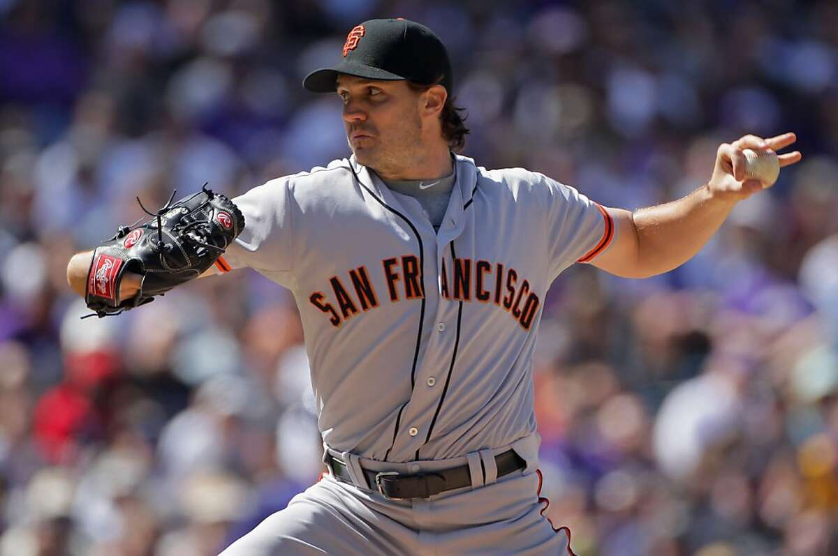 DENVER, CO - APRIL 09: Starting pitcher Barry Zito #75 of the San Francisco Giants delivers against the Colorado Rockies on Opening Day at Coors Field on April 9, 2012 in Denver, Colorado. (Photo by Doug Pensinger/Getty Images)