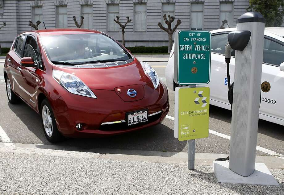 City CarShare has added the Nissan Leaf to its fleet as the S.F. nonprofit expands its electric options. Photo: Sean Culligan, The Chronicle