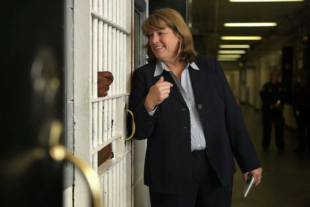 San Francisco Sheriff Vicki Hennessy runs into an inmate that recognized her while she was touring the county jail in San Francisco, Calif., on Monday, April 9, 2012. The inmate remembered her as a lieutenant at San Bruno county jail