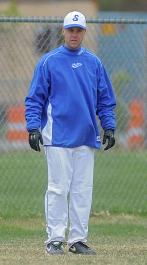 Shaker coach Steve Frank during a baseball game against Lansingburgh April 9, 2012 in Troy, N.Y. (Lo