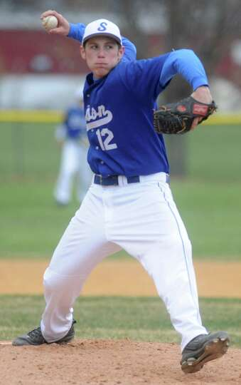 Shaker's Danny Ciaramella pitches the ball during a baseball game against Lansingburgh April 9, 2012