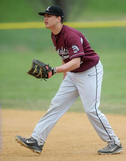 Lansingburgh first baseman Ryan McGrath gets into a ready position during a baseball game against Sh