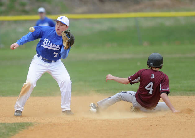Lansingburgh's Connor McBonough is safe at second as Shaker's Connor Montagne catches the ball during a baseball game April 9, 2012 in Troy, N.Y. (Lori Van Buren / Times Union) Photo: Lori Van Buren