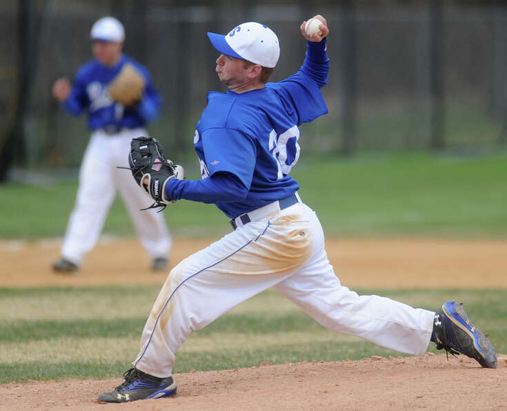 Shaker's Andrew Brochu pitches the ball during a baseball game against Lansingburgh April 9, 2012 in