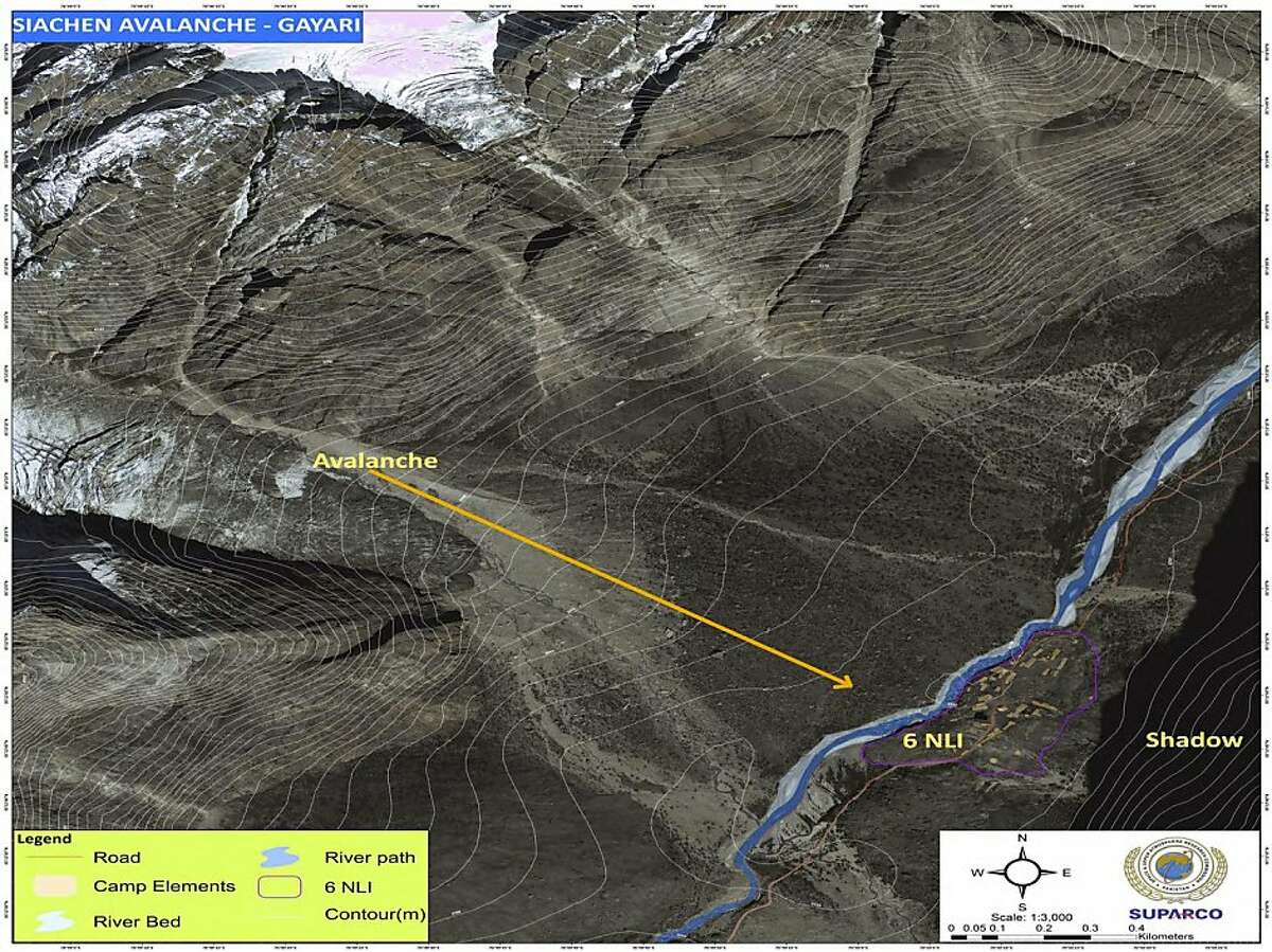 In this photo released by Inter Services Public Relations department on Monday, April 9, 2012, a Satellite image shows the site hit by avalanche in Siachen, in northern Pakistan. Rescue workers used bulldozers Sunday to dig through huge banks of snow following a massive avalanche a day earlier that engulfed a military complex and buried at least 135 people, most of them soldiers, in a mountain battleground close to the Indian border. (AP Photo/Inter Services Public Relations)