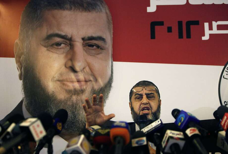 Egypt's Muslim Brotherhood presidential candidate Khairat el-Shater talks to reporters during a press conference in Cairo, Egypt Monday, April 9, 2012. (AP Photo/Nasser Nasser) Photo: Nasser Nasser, Associated Press