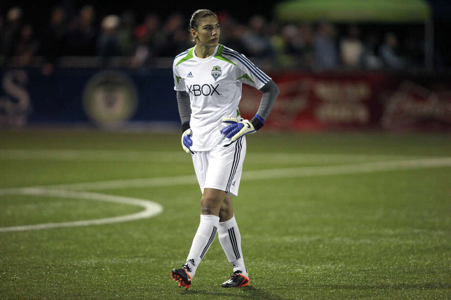 Seattle Sounders player Hope Solo works the field during the Sounders women season opener against Seattle Pacific University on Monday, April 9, 2012 at Starfire Sports Stadium in Tukwila. Photo: JOSHUA TRUJILLO / SEATTLEPI.COM
