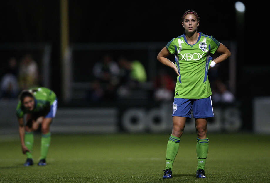 Seattle Sounders women player Alex Morgan waits for action on the pitch against Seattle Pacific University during the Sounders women season opener on Monday, April 9, 2012 at Starfire Sports Stadium in Tukwila. Photo: JOSHUA TRUJILLO / SEATTLEPI.COM