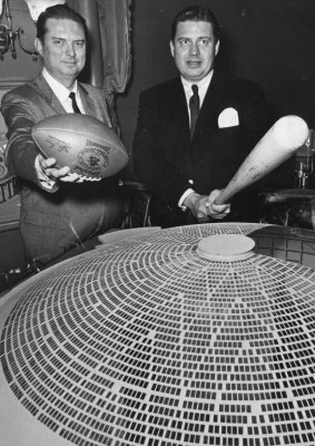 Roy Hofheinz, left, president of the Houston Colt .45s, and Bud Adams, president of the Houston Oilers, make a pitch to voters for building the proposed domed stadium, 1962. At the time, Adams said the stadium would assure the continuance of professional football in Houston. Football would not be played in the Dome until 1968, after Adams and Hofheinz settled differences over a rental agreement for the Oilers to play in the stadium. (Richard Pipes / Houston Chronicle)