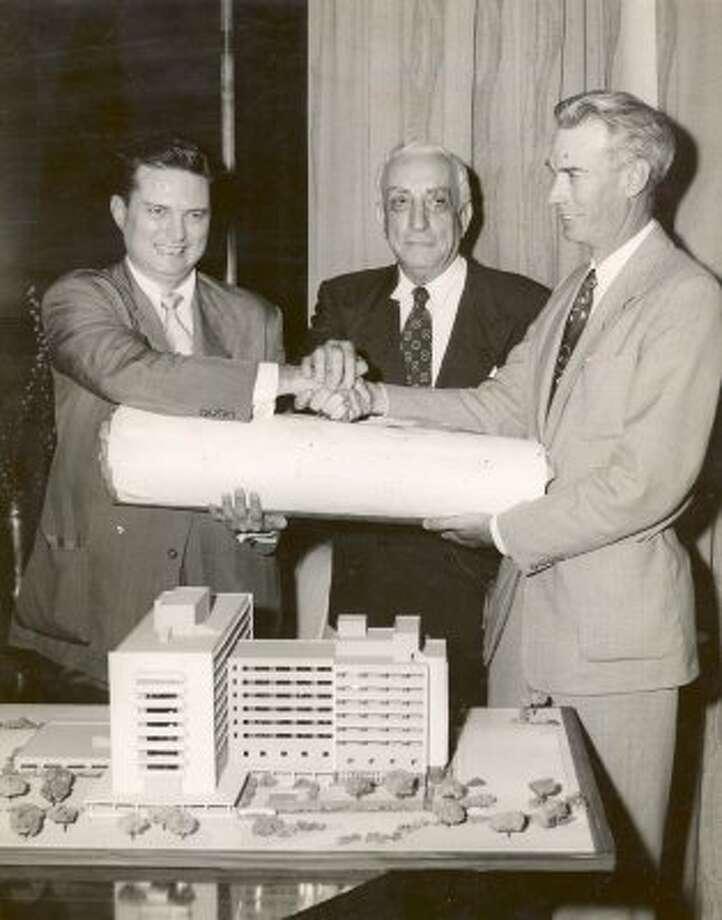 Mayor Roy Hofheinz, Ben Taub and Harris County Judge Bob Casey, 1954.  (Houston Chronicle)