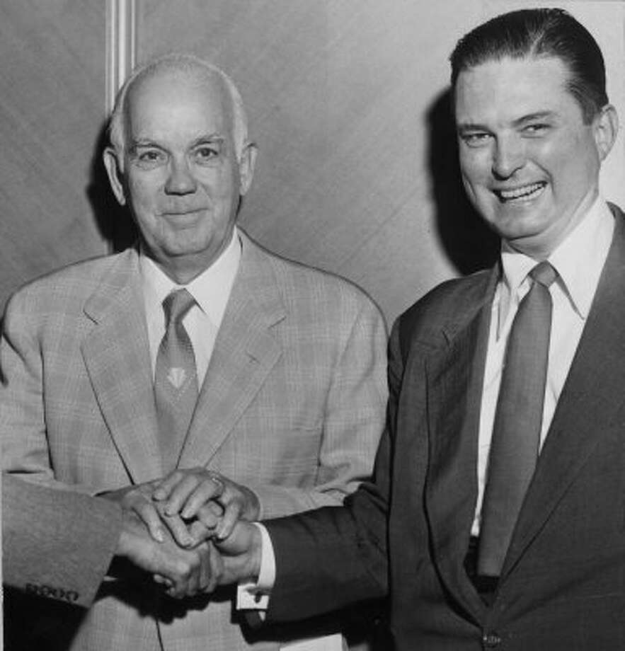Political foes Oscar Holcombe, left, and Roy Hofheinz during the 1955 mayoral race. Holcombe would defeat Hofheinz in the election. (File / Houston Chronicle file)