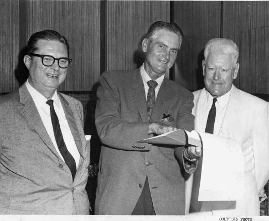 "Colt .45s co-owner Judge Roy Hofheinz, Colt .45s general manager Paul Richards and Colt .45s co-owner R.E. ""Bob"" Smith, July 1962. (Chronicle file)"