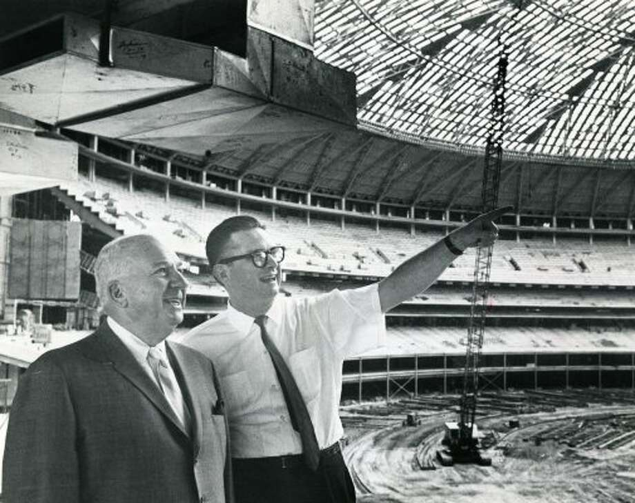 Colt .45 President Roy Hofheinz, right, shows National League president Warren Giles some features of the Astrodome, September 1964.  (Staff / Houston Chronicle file)