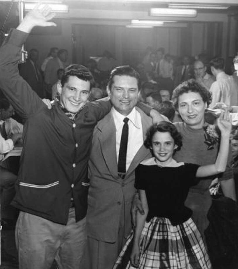 Mayor Roy Hofheinz and family celebrate following his 1954 victory at the polls. From left, son Roy Hofheinz Jr., Roy Hofheinz, daughter Dene Hofheinz, and wife Dene Hofheinz. (Sam C. Pierson Jr. / Houston Chronicle file)