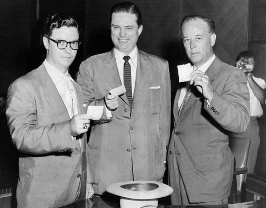 Mayoral candidates Louie Welch, Roy Hofheinz, and Alvin S. Moody Jr., October 1954. Hofheinz would defeat Welch and Moody in a heated campaign. (Staff / Houston Chronicle file)