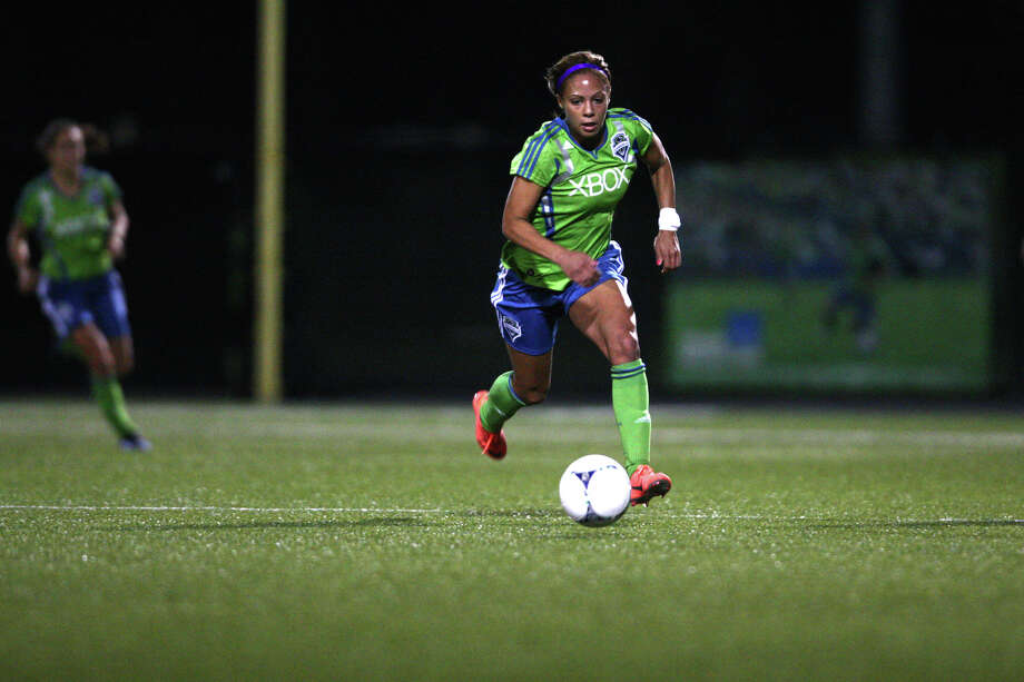 Seattle Sounders women player Sydney Leroux gets the ball downfield against Seattle Pacific University during the Sounders women season opener on Monday, April 9, 2012 at Starfire Sports Stadium in Tukwila. Photo: JOSHUA TRUJILLO / SEATTLEPI.COM
