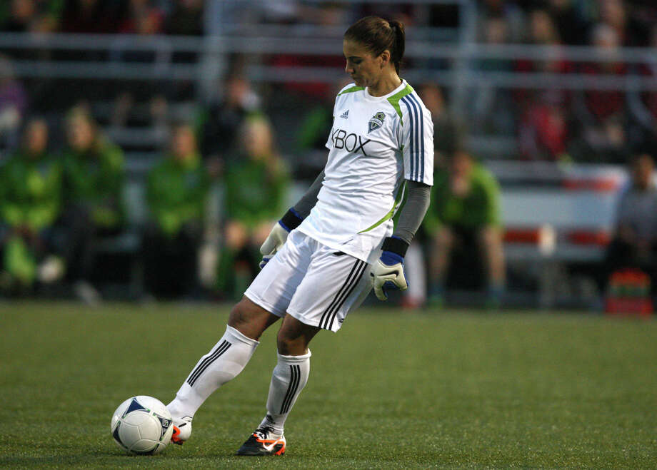 Seattle Sounders women player Hope Solo prepares to kick the ball against Seattle Pacific University during the Sounders women season opener on Monday, April 9, 2012 at Starfire Sports Stadium in Tukwila. Photo: JOSHUA TRUJILLO / SEATTLEPI.COM