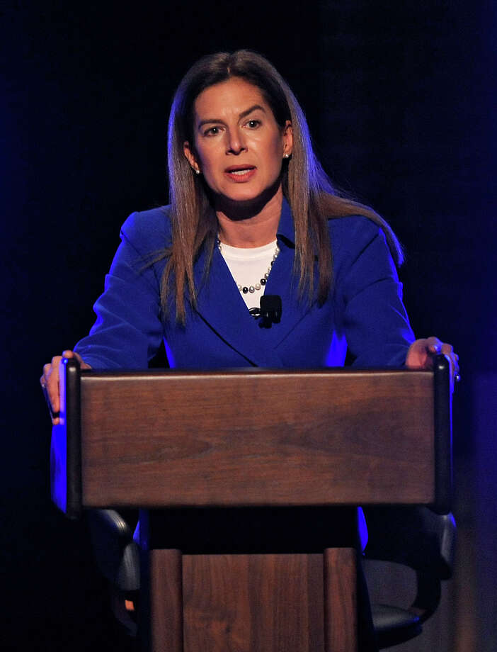 Democratic Senate candidate for U.S. Senate, former Secretary of the State Susan Bysiewicz, speaks during a debate in Storrs, Conn., Monday, April 9, 2012.  Five Democrats are vying for the party's endorsement in Connecticut's U.S. Senate race to ultimately fill the seat being vacated by the retiring Sen. Joe Lieberman, an independent. Photo: John Woike, (AP Photo/The Hartford Courant, John Woike, Pool / Associated Press