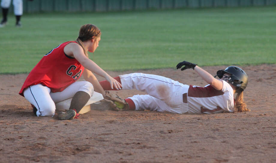 Hannah Boyett slides into second base during last week's win over Kirbyville. Photo: Jason Dunn
