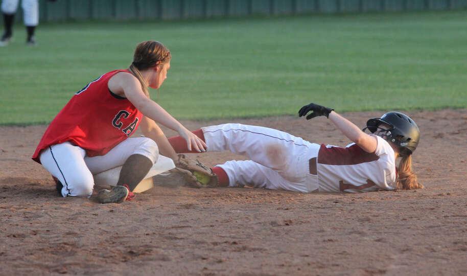 Hannah Boyett slides into second base during last week's win over Kirbyville.